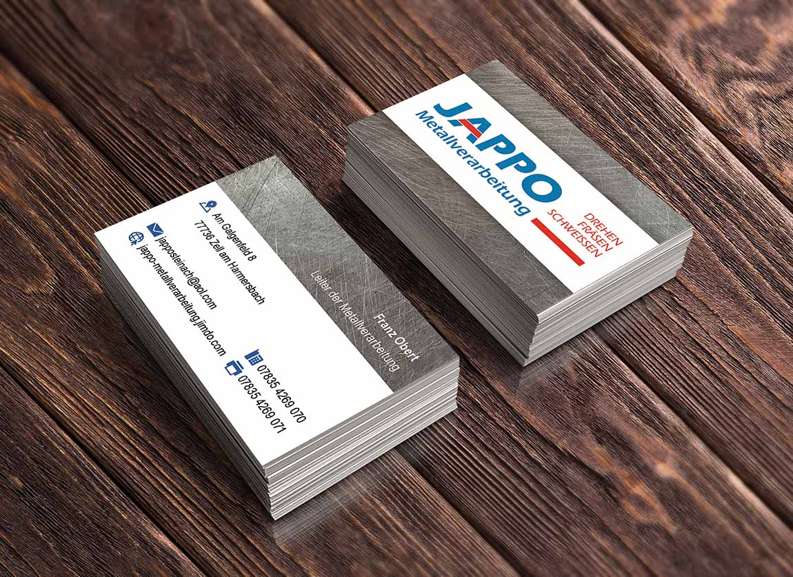 Visitenkarten Jappo Metallverarbeitung Zell am Harmersbach